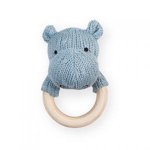 Rammelaar / Bijtring Hippo Jollein Soft Knit Soft Blue