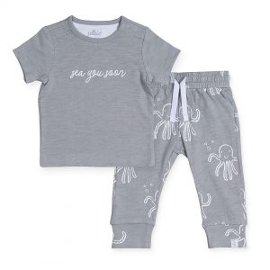 jollein broekje t-shirt octopus grey