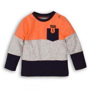 Dirkje shirt lange mouw oranje + navy + grijs